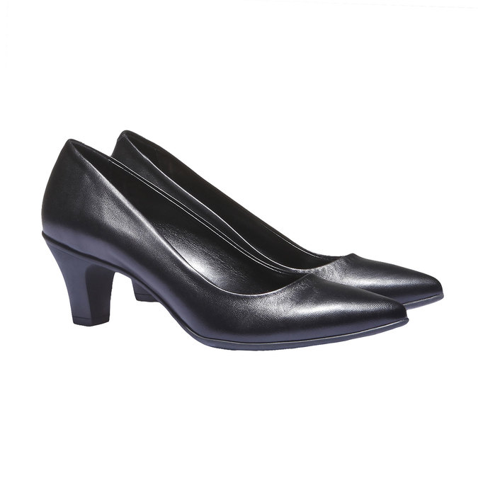Leather Pumps flexible, black , 624-6221 - 26