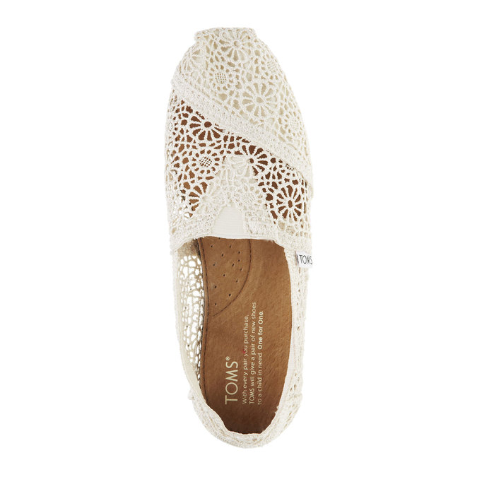 Lace slip-ons toms, white , 519-1100 - 19
