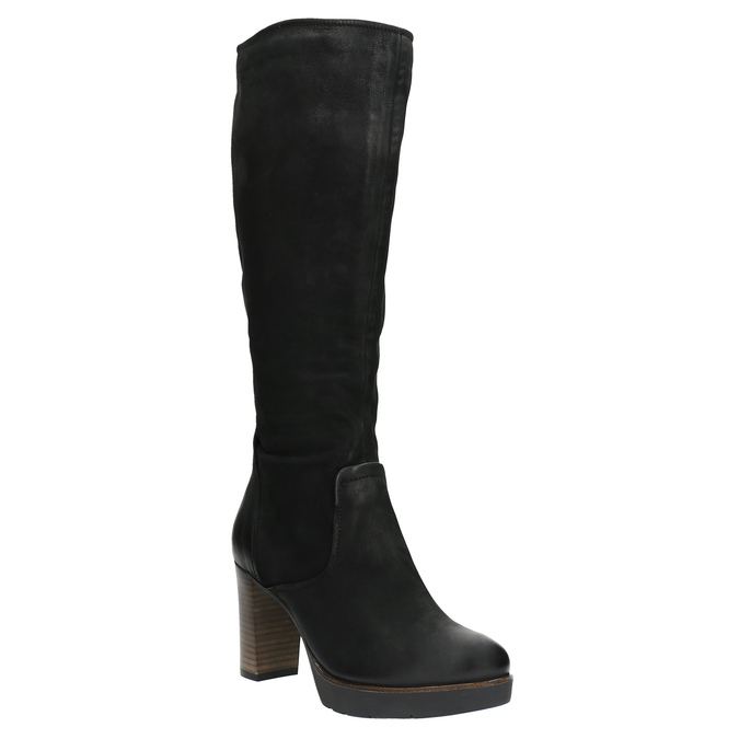Leather platform high boots bata, black , 796-6632 - 13