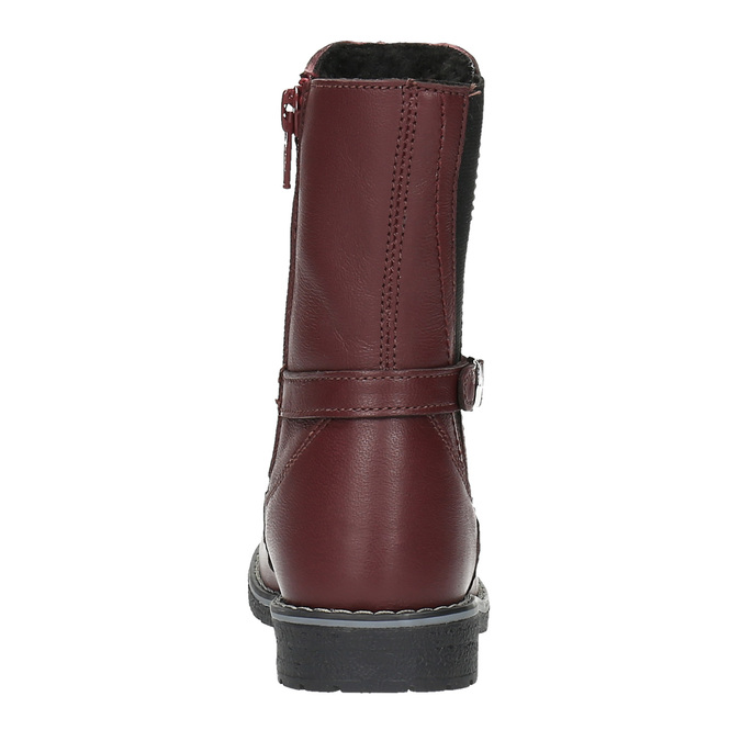 Girls' leather high boots mini-b, red , 294-5200 - 17