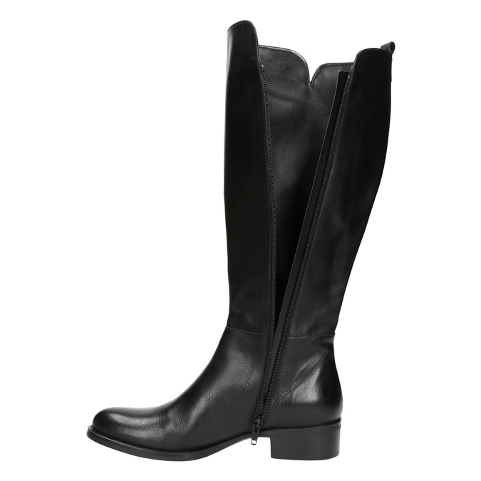 Ladies' leather high boots bata, black , 594-6586 - 26