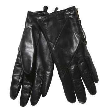 Ladies' leather gloves with quilting bata, black , 904-6108 - 13