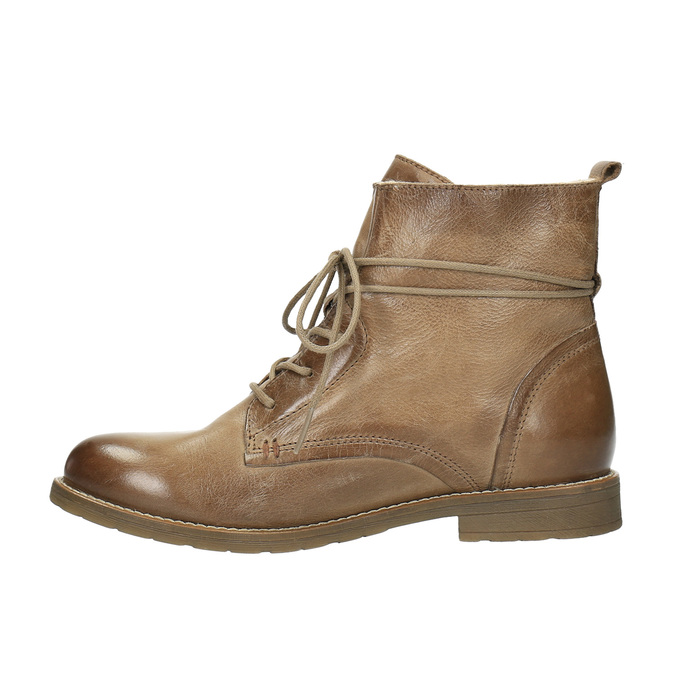 Leather insulated ankle boots bata, brown , 594-4610 - 26