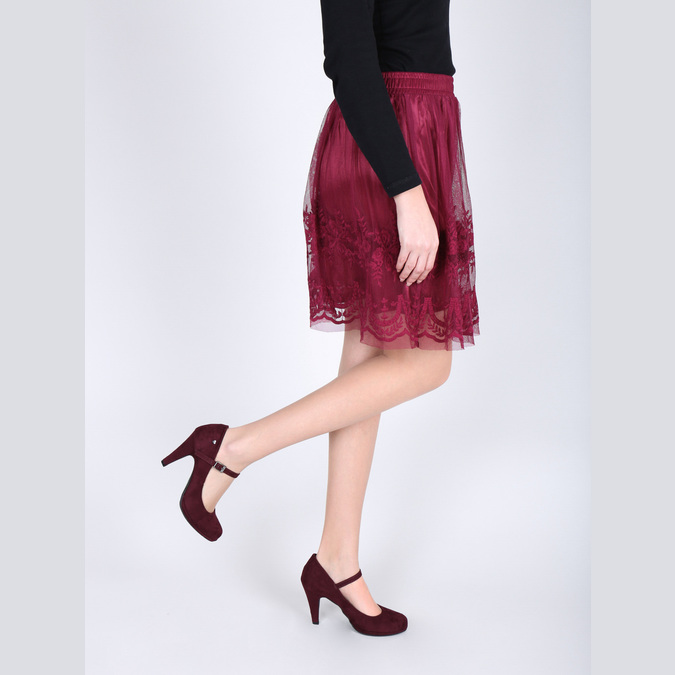 Burgundy pumps with a strap across the instep bata, red , 729-5601 - 18
