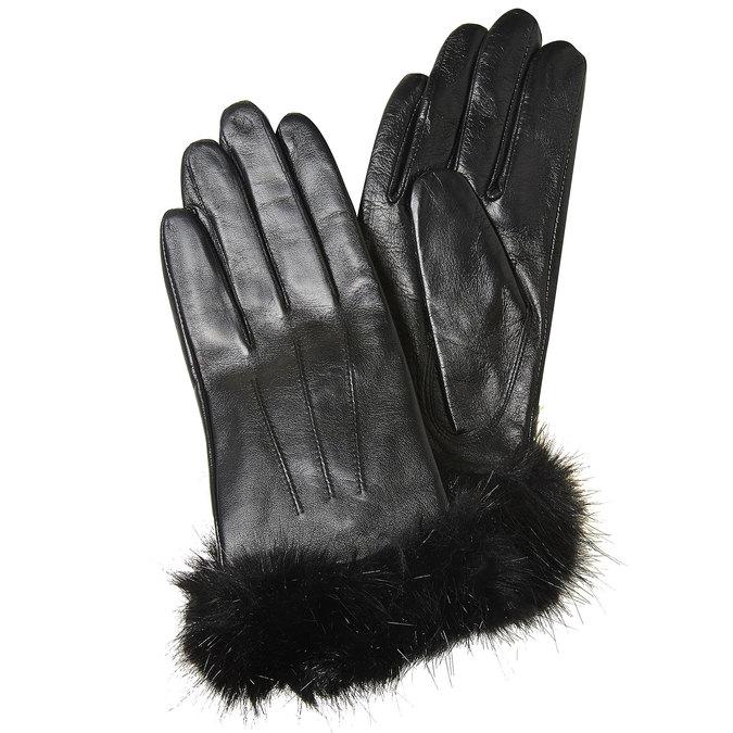 Ladies' leather gloves, black , 904-6126 - 13
