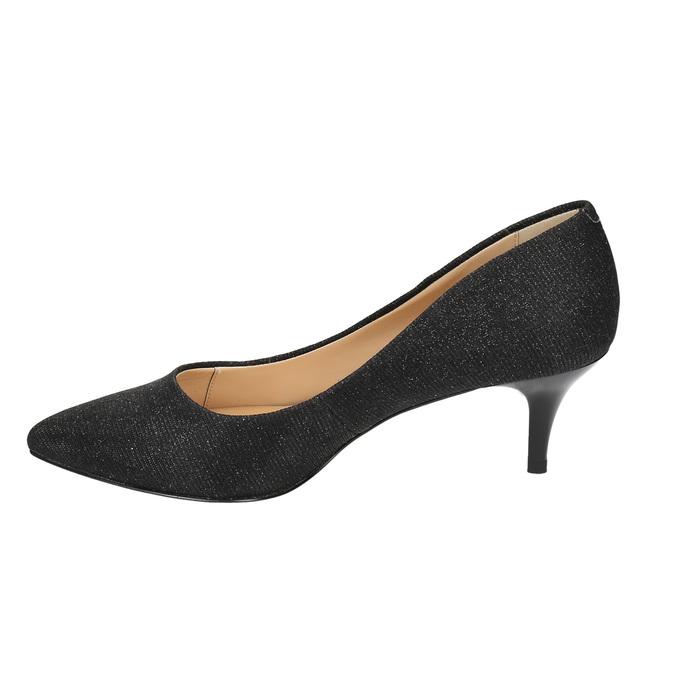 Elegant low-heeled pumps bata, black , 629-6631 - 26