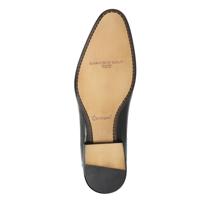 Black leather shoes conhpol, black , 824-6861 - 26