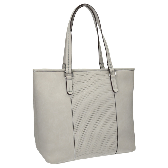 Ladies' handbag with perforated detail bata, gray , 961-2711 - 13