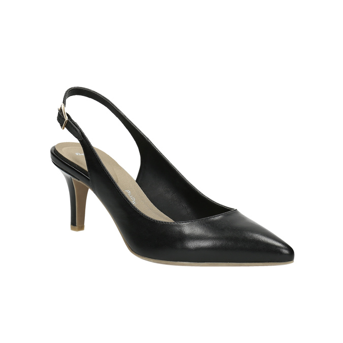 Leather pumps in the Sling-back style pillow-padding, black , 624-6638 - 13