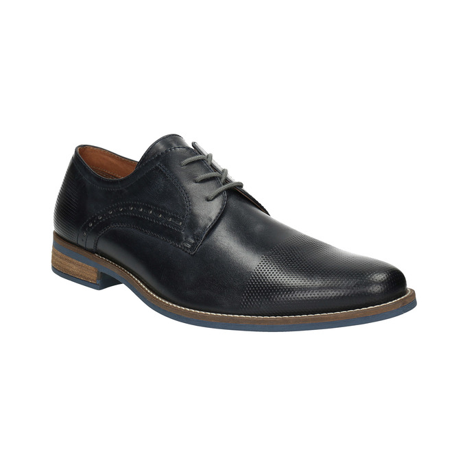 Men's black leather shoes bata, blue , 826-6793 - 13