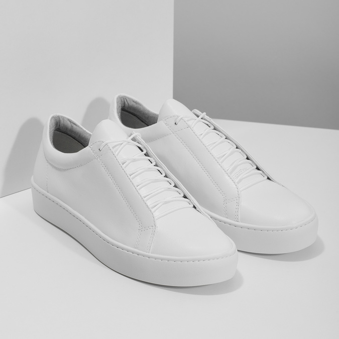 White leather sneakers vagabond, white , 624-1019 - 26