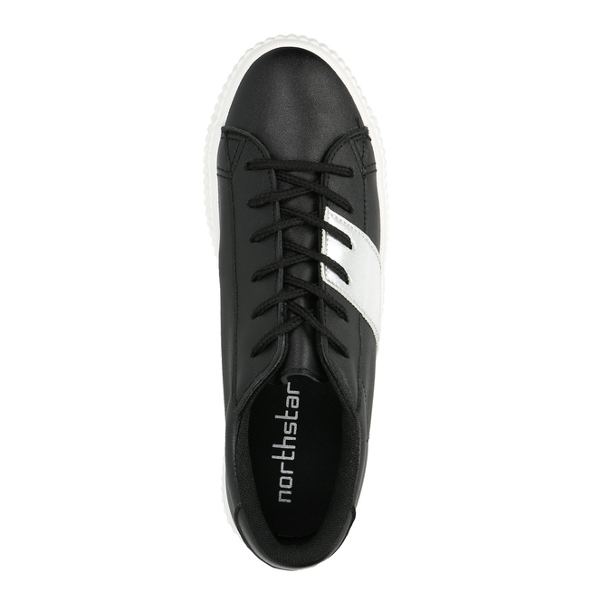 Black sneakers with silver stripe north-star, black , 521-6605 - 19