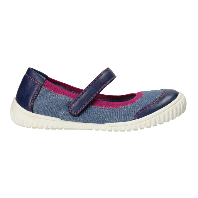 Ballerinas with an instep strap mini-b, blue , 329-9605 - 15