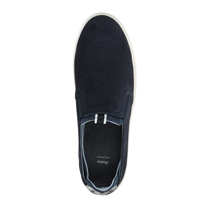 Men´s leather Slip-ons bata, blue , 833-9600 - 19