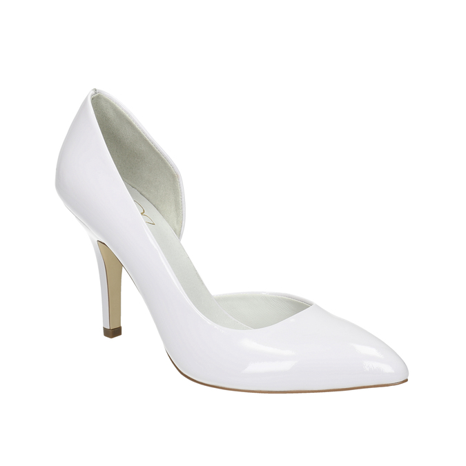 White pointed leather pumps insolia, white , 728-1635 - 13