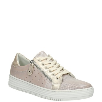 Pink leather sneakers with zip bata, pink , 526-5630 - 13