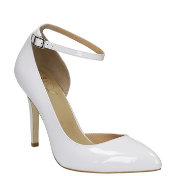 White leather pumps with ankle strap insolia, white , 728-1640 - 13