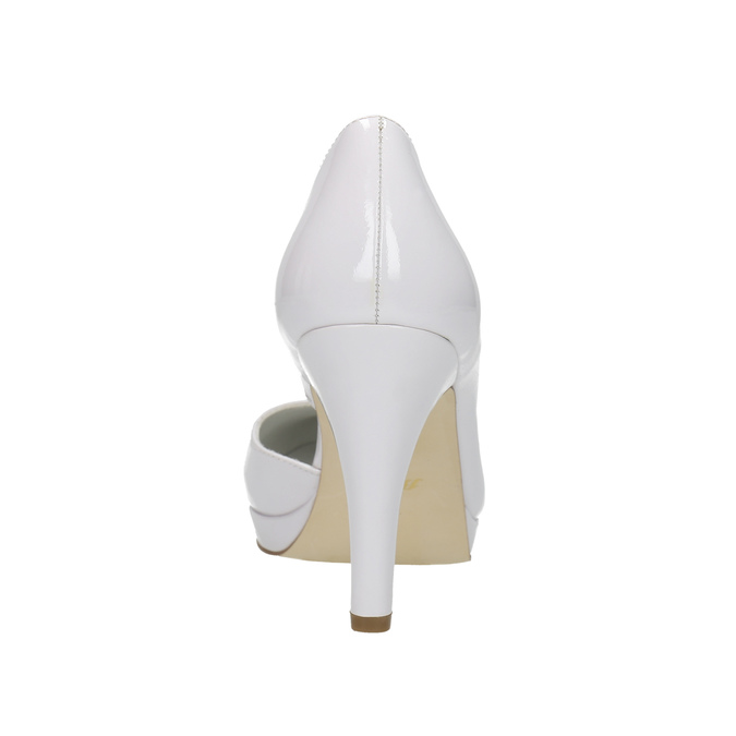 White leather pumps with cut-outs insolia, white , 728-1637 - 17