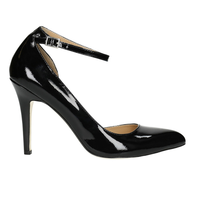 Black leather pumps with ankle strap insolia, black , 728-6640 - 15