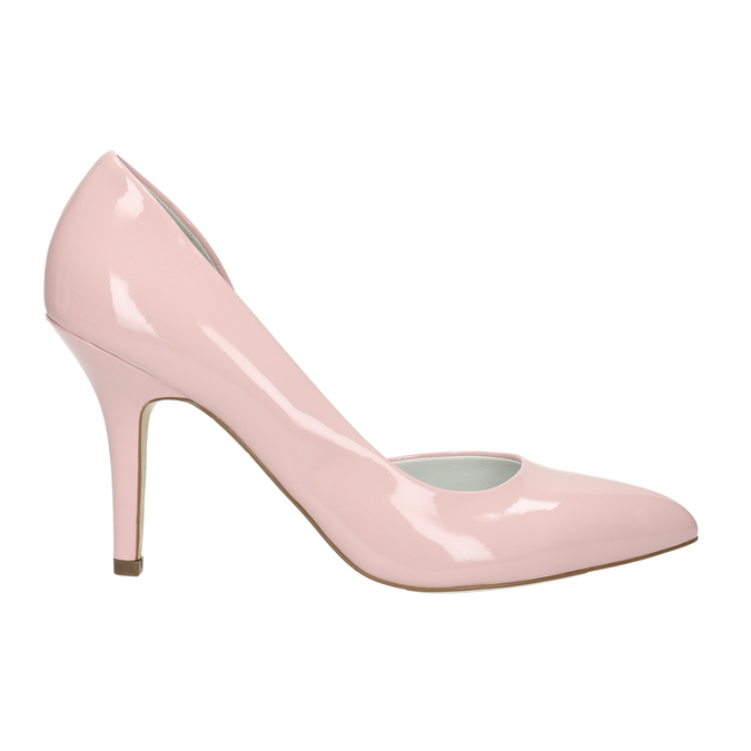 Pink leather pumps insolia, pink , 728-5635 - 15