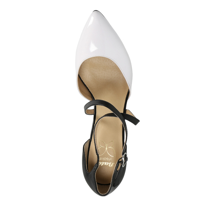 Leather pumps with straps across the instep insolia, white , 728-1641 - 19