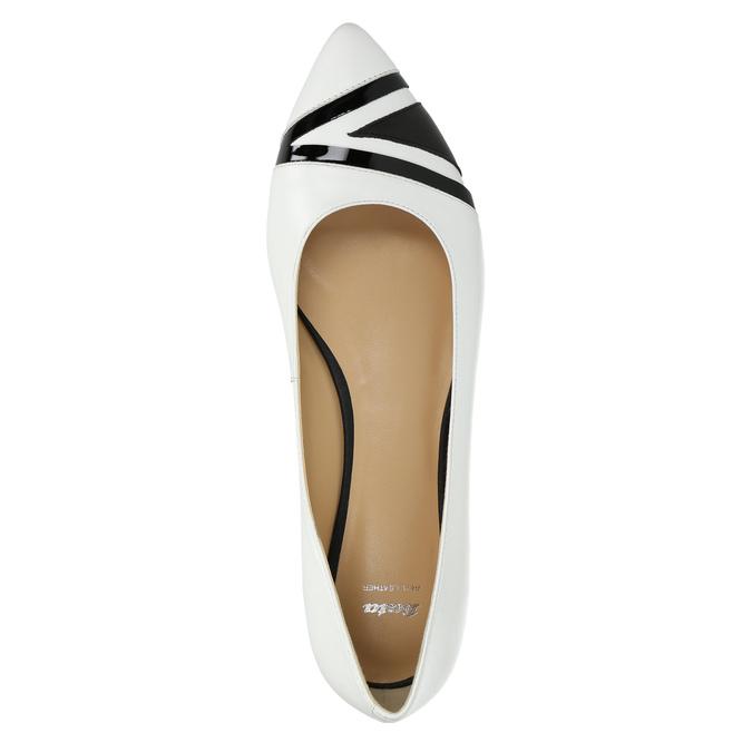 Ladies´ leather ballerinas bata, white , 524-1602 - 19