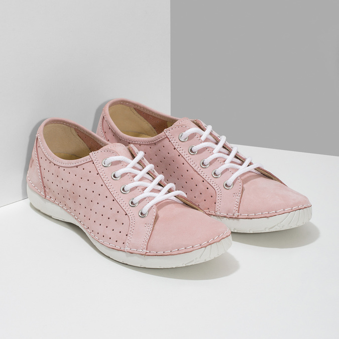 Pink leather low shoes weinbrenner, pink , 546-5602 - 26