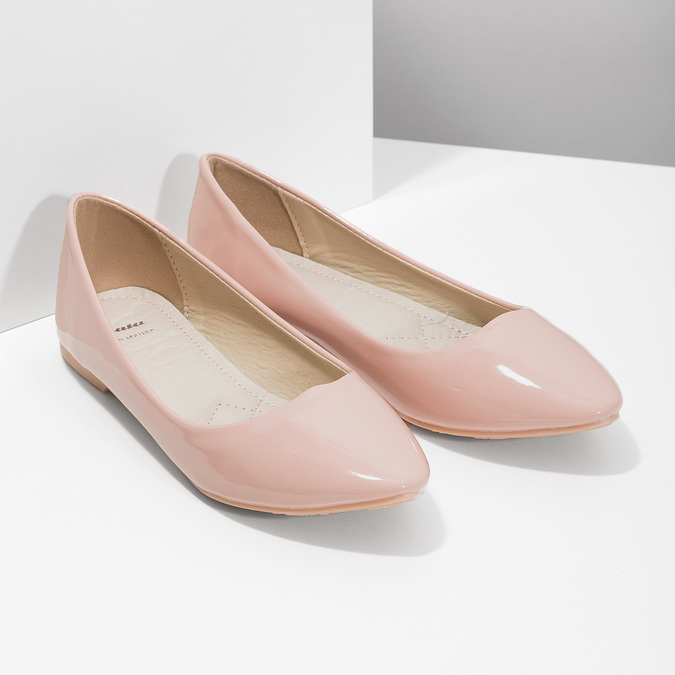 Ladies' patent-leather ballerinas bata, pink , 521-5602 - 26
