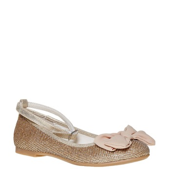 Girls' ballet pumps with bow mini-b, gold , 329-8241 - 13