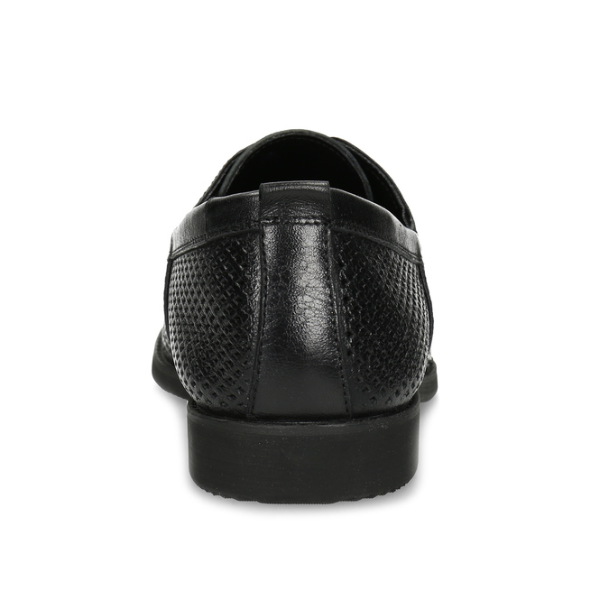 Leather shoes with perforations bata, black , 854-6601 - 15