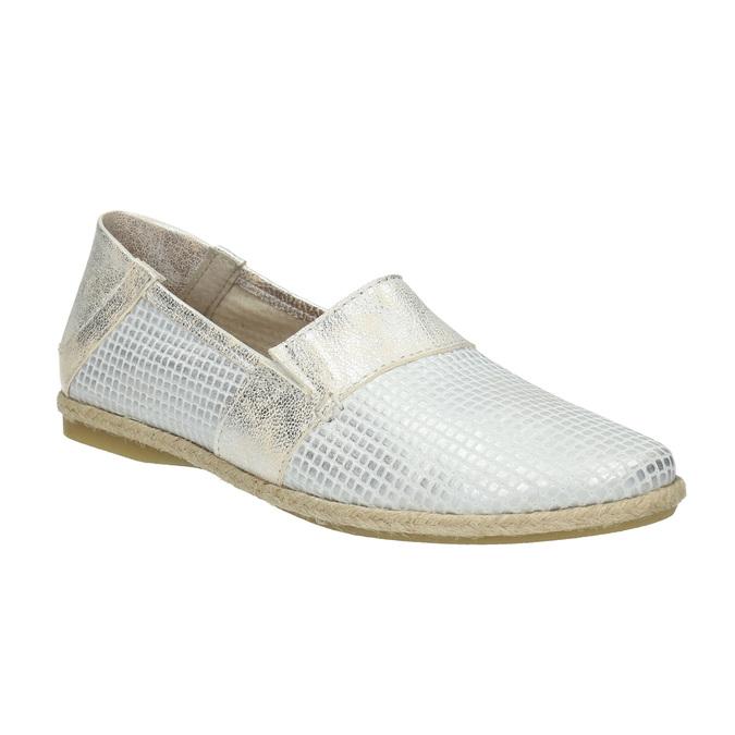 Ladies' leather slip-ons bata, white , 516-1604 - 13