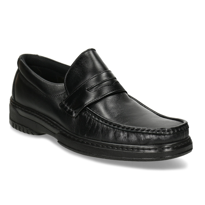 Men's leather moccasins with stitching, black , 814-6624 - 13