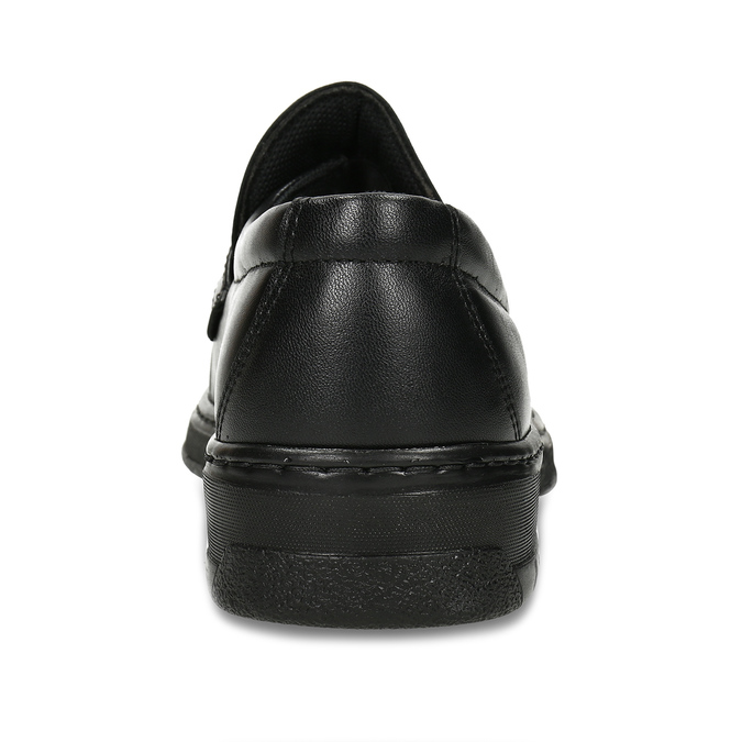 Men's leather moccasins with stitching, black , 814-6624 - 15