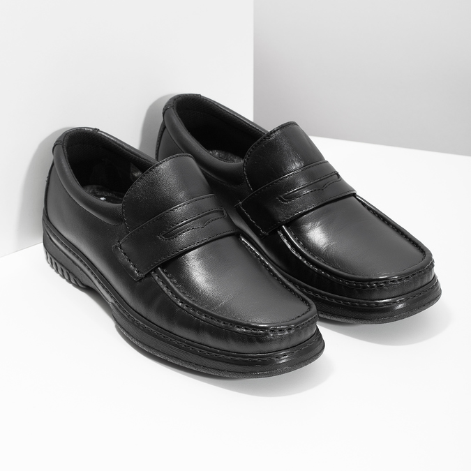 Men's leather moccasins with stitching, black , 814-6624 - 26