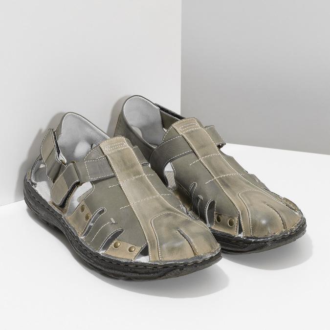 Men's leather sandals bata, brown , 866-2622 - 26