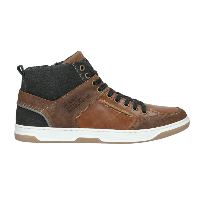 Leather high-top sneakers bata, brown , 846-3640 - 15