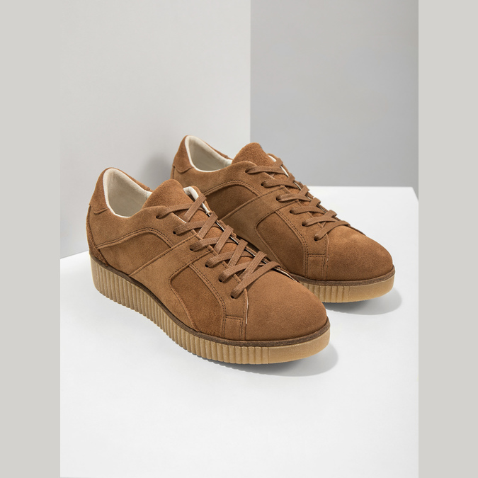 Brown leather sneakers bata, brown , 523-8604 - 19
