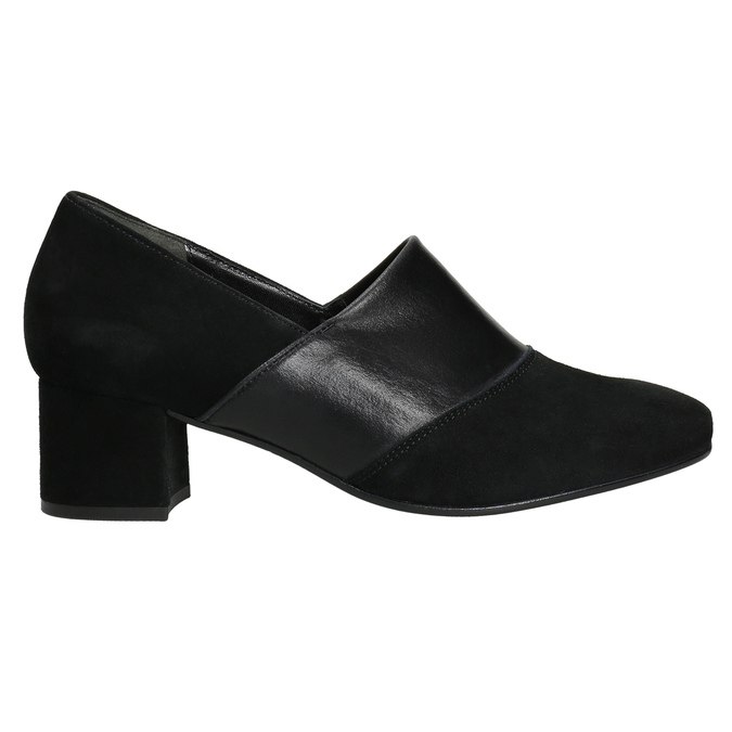 Leather pumps on a low heel gabor, black , 613-6126 - 15