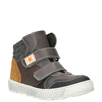 Leather high-top sneakers mini-b, brown , 214-4203 - 13