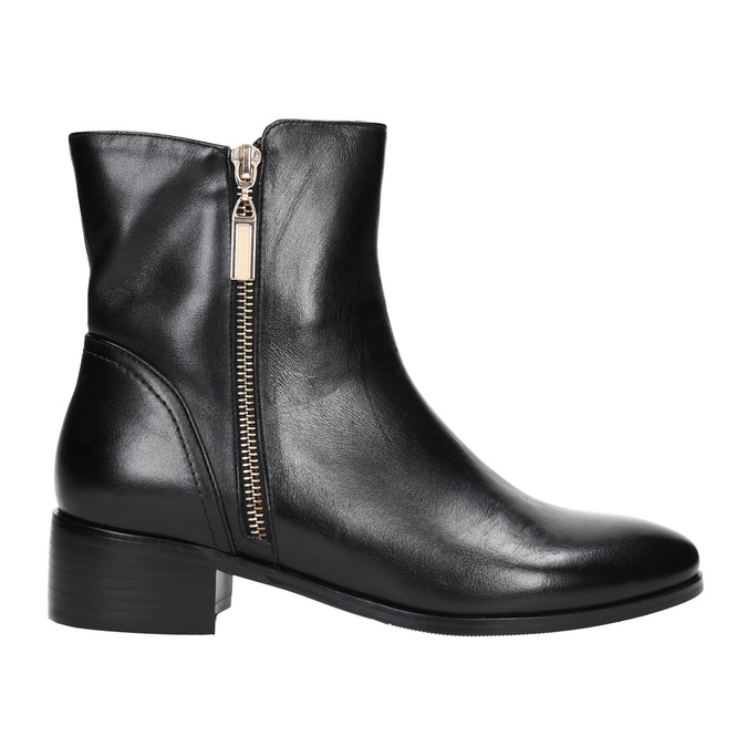 Leather ankle boots with gold zippers bata, black , 594-6654 - 15