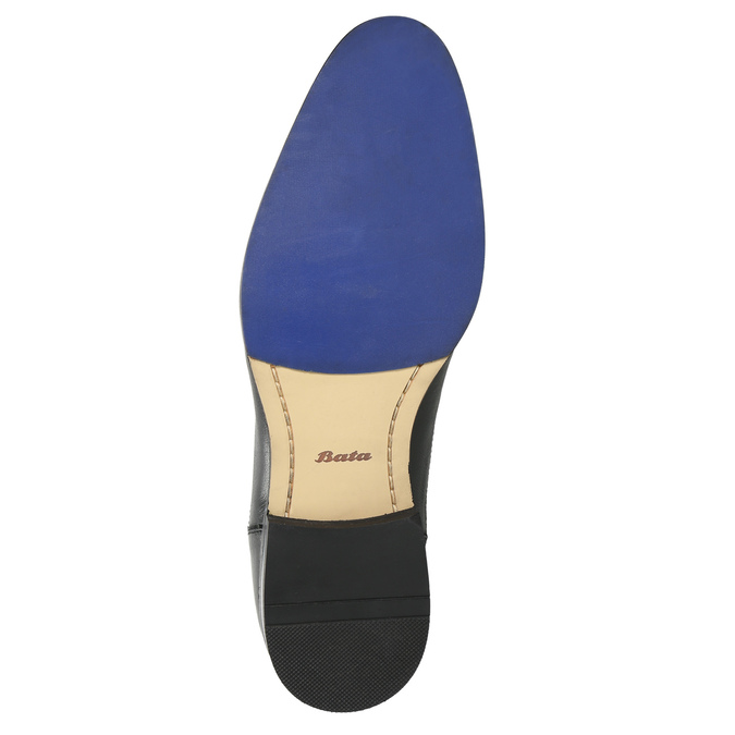 Leather shoes with blue stitching bata, black , 826-6915 - 19