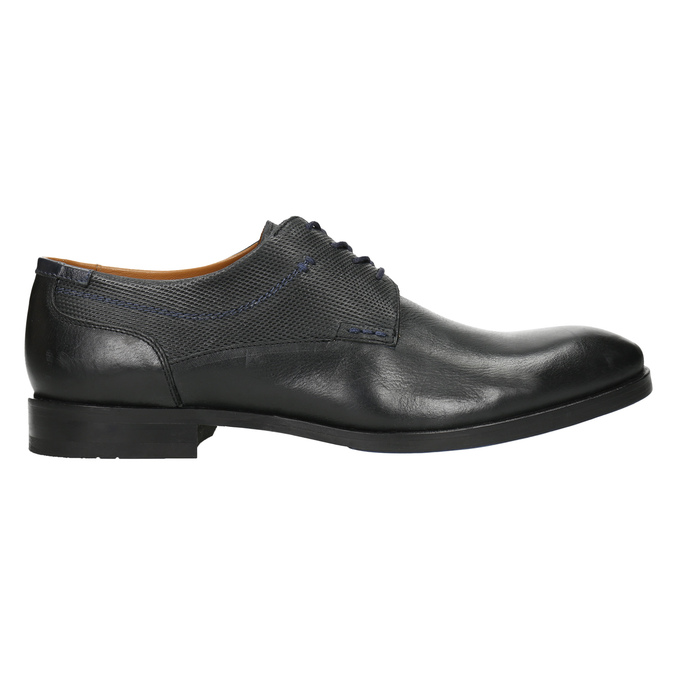 Leather shoes with blue stitching bata, black , 826-6915 - 15
