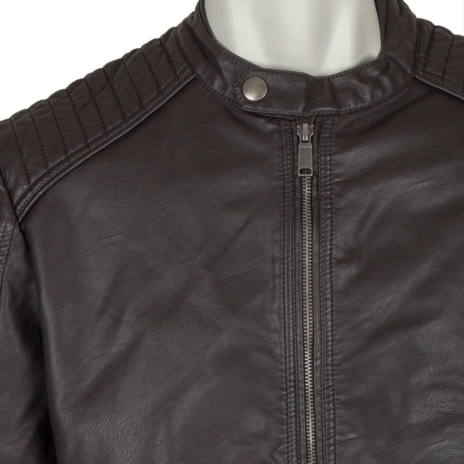 Men's Imitation Leather Jacket bata, brown , 971-4103 - 16