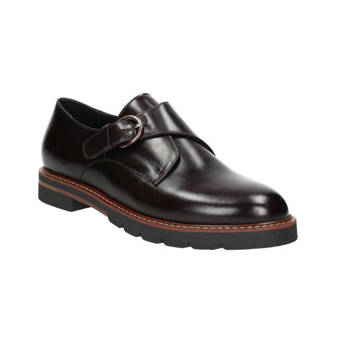 Ladies' leather Monk shoes bata, red , 516-5611 - 13