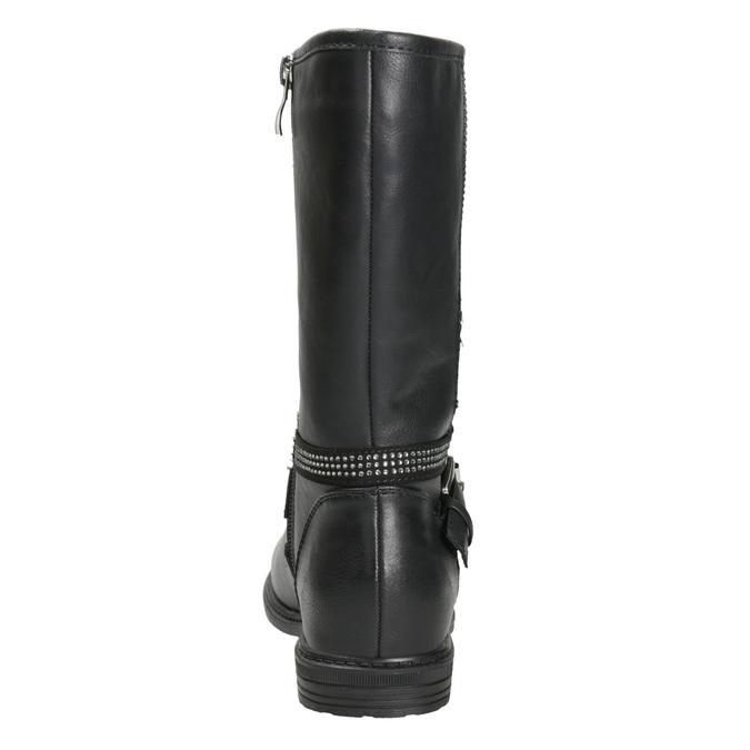 Girls' high boots with rhinestones mini-b, black , 391-6398 - 16