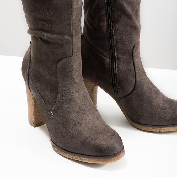 Ladies' wrinkled high boots bata, brown , 799-4614 - 14