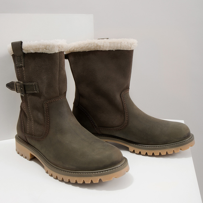 Ladies' winter boots with fur weinbrenner, khaki, 594-2455 - 14