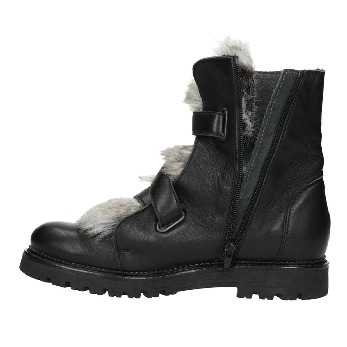 Leather Ankle Boots with Fur bata, black , 594-6656 - 15
