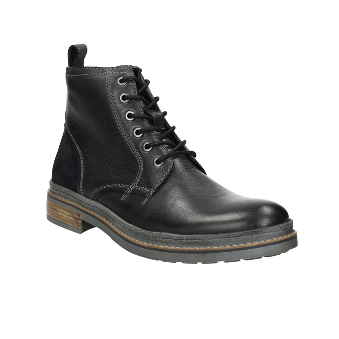 Leather Winter Ankle Boots bata, black , 896-6685 - 13