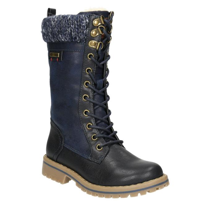 Girls' Winter Boots with Knit Jumper mini-b, blue , 391-9657 - 13